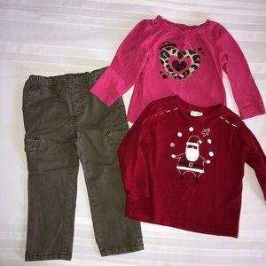 2T ⚡️ Little Girls Cargo Olive Pants Lot Tops